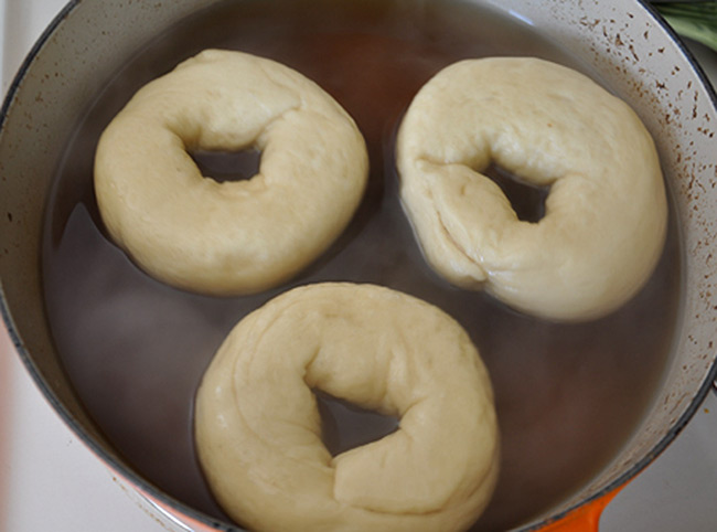 Bagels being Boiled
